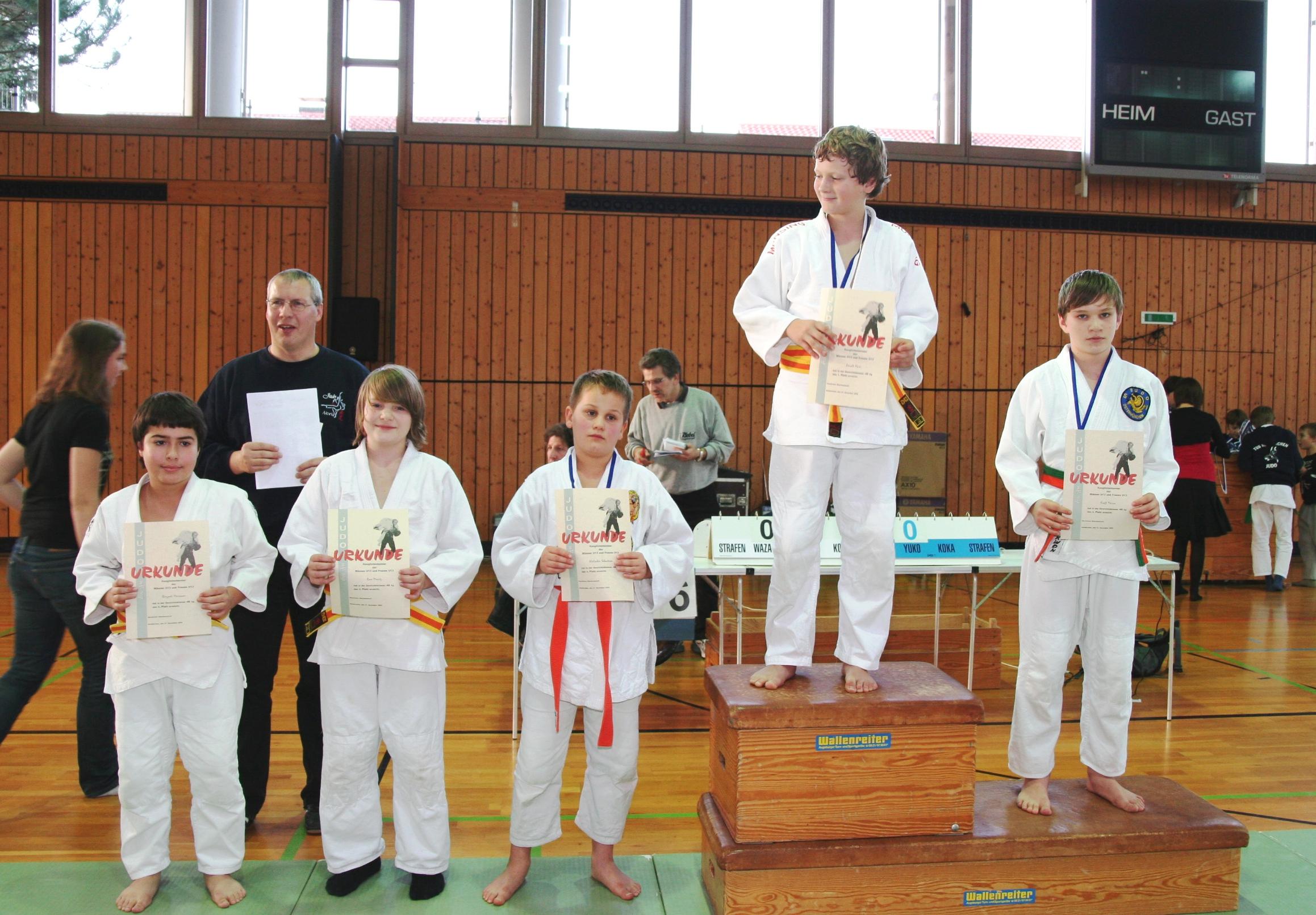 Siegerehrung RLT U13 bis 46 kg 21.11.2009